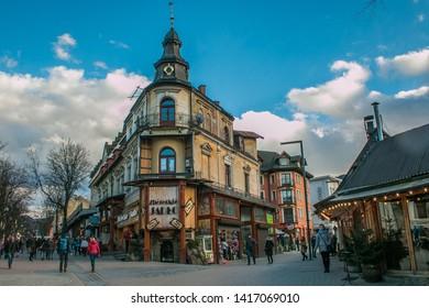 ZAKOPANE, POLAND - MARCH 8, 2019: Historic center of Zakopane mountain village in Poland, Europe