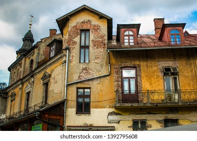ZAKOPANE, POLAND - MARCH 9, 2019: Old palace in the historic center of Zakopane village, Poland