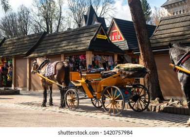 Zakopane / Poland - may 08 2019: Carriages with horses for tourists on street in Zakopane, popular winter tourist centre in Poland