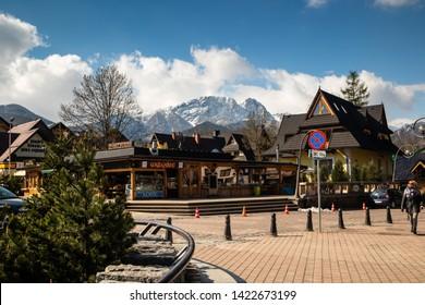 Zakopane / Poland - may 08 2019: Streets of  Zakopane, popular winter tourist centre in Poland