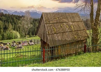 ZAKOPANE, POLAND - MAY 16, 2016: Wooden hut in the mountains.