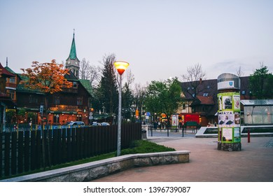 Zakopane, Poland - May 20, 2016: Famous Krupowki street in Zakopane at night
