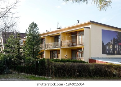 Zakopane, Poland - November 10, 2018: Two-storey multi-family building. Each apartment in this building has a balcony.