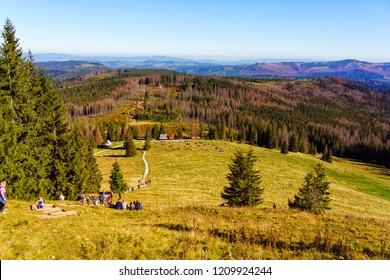 ZAKOPANE, POLAND - OCT 13, 2018: The High Tatras Mountains (Vysoké Tatry, Tatry Wysokie, Magas-Tátra), are a mountain range along the border of Slovakia in the Prešov Region, and southern Poland.