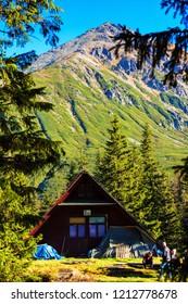 ZAKOPANE, POLAND - OCT 13, 2018: The High Tatras Mountains (Vysoke Tatry, Tatry Wysokie, Magas-Tatra), are a mountain range along the border of Slovakia in the Presov Region, and southern Poland
