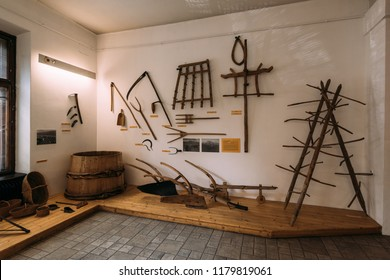 Zakopane, Poland - Sept 14, 2018: Traditional agricultural hand tools displayed in the Tatra Museum in Zakopane, Poland