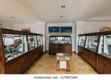 Zakopane, Poland - Sept 14, 2018:Mineral displayed in the Tatra Museum in Zakopane, Poland