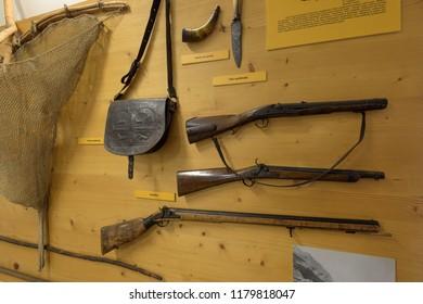 Zakopane, Poland - Sept 14, 2018:Old hunting rifles displayed in the Tatra Museum in Zakopane, Poland