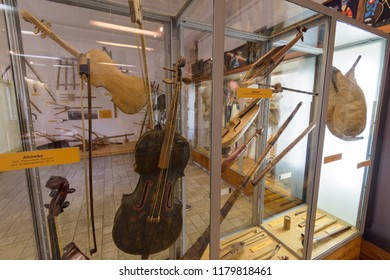 Zakopane, Poland - Sept 14, 2018:Old musical instruments displayed in the Tatra Museum in Zakopane, Poland