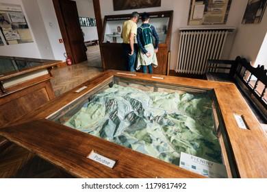Zakopane, Poland - Sept 14, 2018:Visitors at the Mineral exhibition in the Tatra Museum in Zakopane, Poland