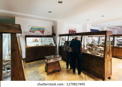 Zakopane, Poland - Sept 14, 2018:Visitors at the Mineral exhibition in the Tatra Museum in Zakopane, Poland
