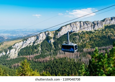 Zakopane, Poland - Sept 21, 2018: The Cable Car To Kasprowy Wierch Peak in the High Tatra, Poland.
