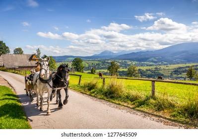 ZAKOPANE, POLAND, SEPTEMBER 16, 2018: Summer panorama of Tatry Mountains and Mount Rysy, surroundings of Zakopane city, Southern Poland