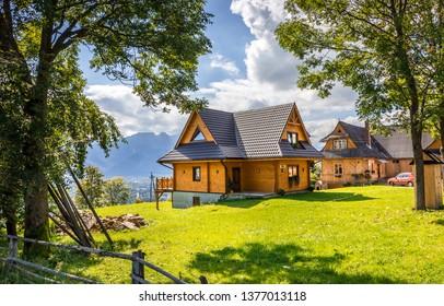 ZAKOPANE, POLAND - SEPTEMBER 16, 2018: Summer panorama of Tatry Mountains, surroundings of Zakopane city, Southern Poland