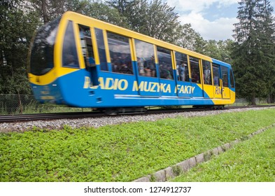 ZAKOPANE, POLAND-JUNI 26, 2018:  Cable car to the top of Gubalowka in Zakopane.
