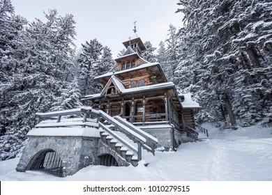 Zakopane wooden church in the snow