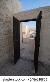 Zakreet, Doha/Qatar - Aug 23, 2019 : an old style door of Zakreet Doha Qatar