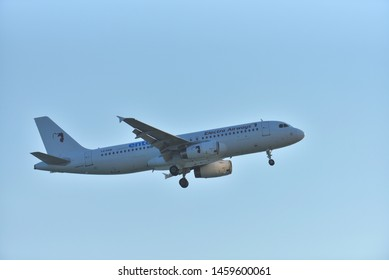 Zakynthos, Grece - June 28 2019: Airplane of Electra Airways above the Zakynthos Island airport in Grece
