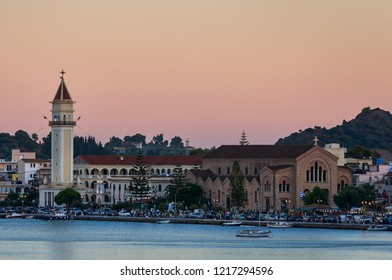 ZAKYNTHOS, GREECE - 24 AUGUST 2018: Agios Dionysios cathedral with bell tower in the capital of the island.This day is the name day of Agios Dionysios and people are going out to celebrate the fiesta