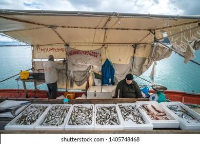 Zakynthos, Greece -  April 2019 : Boxes of freshly caught fish on a fishermen boat in Zakynthos Port Zakynthos City, Ionian islands