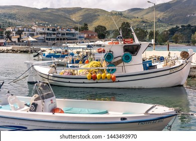 Zakynthos, Greece -  April 2019 : Wide angle view of the small private boats moored in port near Keri beach in summer, Zante Island