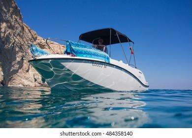 Zakynthos, Greece - August 13, 2016: Quicksilver boat 555 Oden Deck at Zakynthos