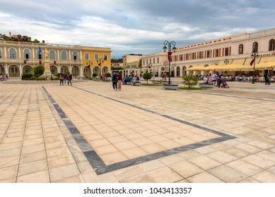 ZAKYNTHOS, GREECE - September 29, 2017: Main square in Zakynthos town, Greece.