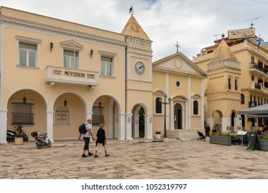 ZAKYNTHOS, GREECE - September 29, 2017: Tourist visit Saint Mark's Square in Zante Town. Zakynthos island, Greece