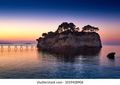 Zakynthos island, Greece. Incredibly romantic sunset on Cameo. Cameo island in the morning light. Amazing sunrise view. Island lovers