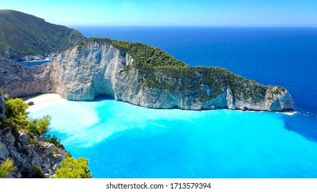 Zakynthos island iconic shipwreck landscape