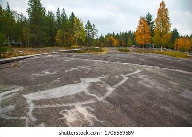 Zalavruga, Belomorsk, Karelia, Russia. Summer landscape plateau with the White Sea petroglyphs.