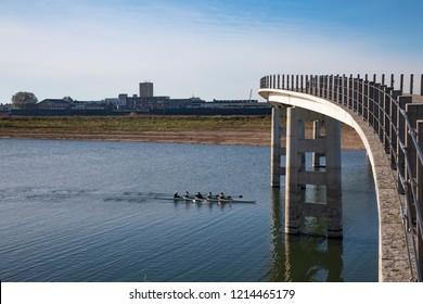 Zalige brug Nijmegen on a sunny day against the Nijmegen skyline