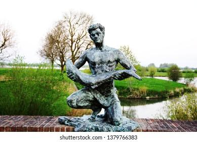 The Zalmvisser art sculpture in Gorinchem, The Netherlands on 20 April 2019.