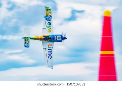 ZAMARDI / HUNGARY - JULY 13, 2019: Mika Brageot with N540XS MXS-R flying over Lake Balaton at Zamardi city for Red Bull Air Race 2019