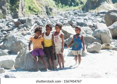 Zambales/Philippines - January 3, 2015: a group of Aita ethnicity kids