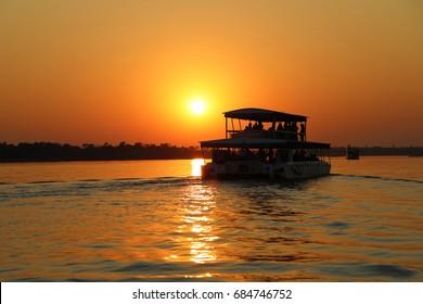 Zambezi River - boat cruise at sunset