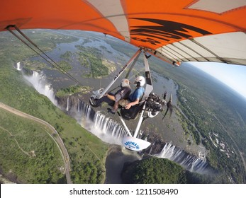 Zambia, 9 January, 2018. Flying on Microlight Plane over Victoria Falls on 9 January, 2018.