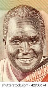 ZAMBIA – CIRCA 1980: Kenneth Kaunda on 5 kwacha 1980  banknote from Zambia. First President of Zambia from 1964 to 1991.