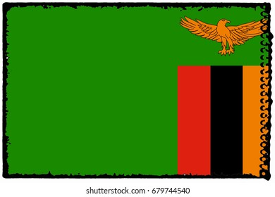 Zambia flag grunge background. Background for design in country flag