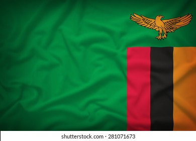 Zambia flag on the fabric texture background,Vintage style