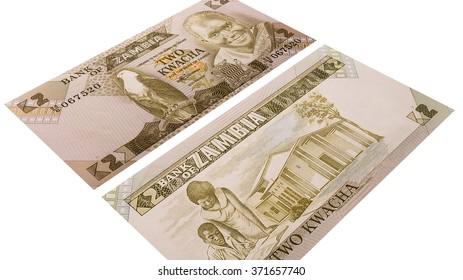 Zambia money isolated on a white background, banknote 2 kwacha