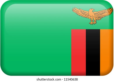 Zambian flag rectangular button.  Part of set of country flags all in 2:3 proportion with accurate design and colors.