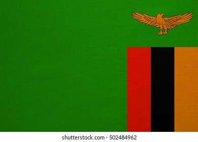 Zambian national official flag. African patriotic symbol, banner, element, background. Correct colors. Flag of Zambia with real detailed fabric texture, accurate size, illustration