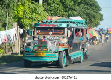 Zamboanga - March 1, 2017: Jeepney in Zamboanga, a city on Mindanao, The Philippines constantly plagued with kidnappings and terrorist attacks by Abu Sayyaf, a Jihadist terror group in the area.