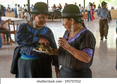 ZAMORA, ECUADOR, May 10 2014.  Pachamamaraymi Festia to thank Mother Earth Zamora Ecuador May 10, 2014.Food shared by iindigenous peoples (Saraguro) is part of the Festia