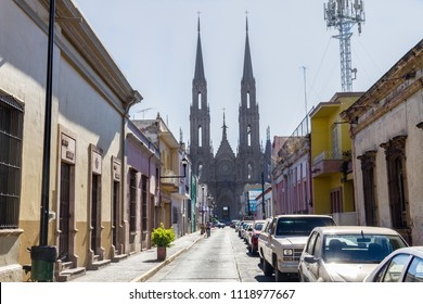 Zamora, Michoacan / Mexico - Circa 2017: Road to the Sanctuary of Our Lady of Guadalupe. This church is the most important in the state.