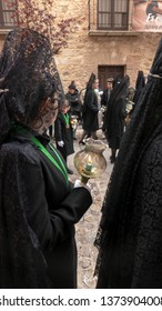 ZAMORA, SPAIN - APRIL 18, 2019: Procession of Virgen de la Esperanza (Virgin of Hope) Brotherhood on Holy Thursday  through the streets of the historic center of Zamora. women wearing black mantillas