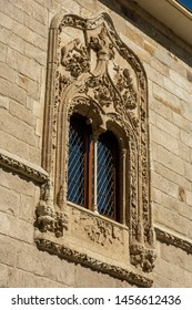 ZAMORA, SPAIN - JULY 20, 2019: The Palace of the Momos is a Renaissance building, but with a profuse decoration with elements of Elizabethan Gothic, Detail of a window of the main cover.