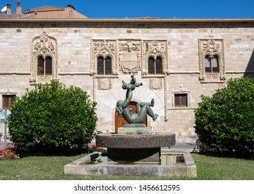 ZAMORA, SPAIN - JULY 20, 2019: The Palace of the Momos is a Renaissance building, but with a profuse decoration with elements of Elizabethan Gothic,