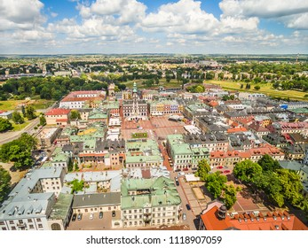Zamosc from a bird's eye view. A city landscape with a visible market and town hall, seen from the air.